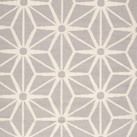 FlatWeave Geometric Pattern Grey Ivory Wool Area Rug