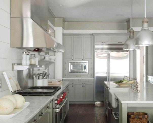 Gray Kitchens  Cottage  kitchen  Benjamin Moore Gettysburg Gray  Dresser Homes