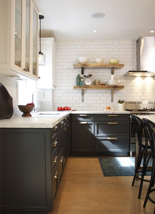 Charcoal Gray Cabinets  Vintage  kitchen  House  Home