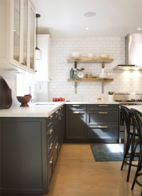 Charcoal Gray Cabinets - Vintage - kitchen - House & Home