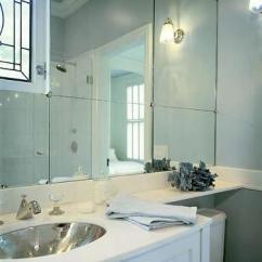 White Lacquer Kitchen Cabinets Kohler Farmhouse Sink Mirrored Backsplash Design Ideas