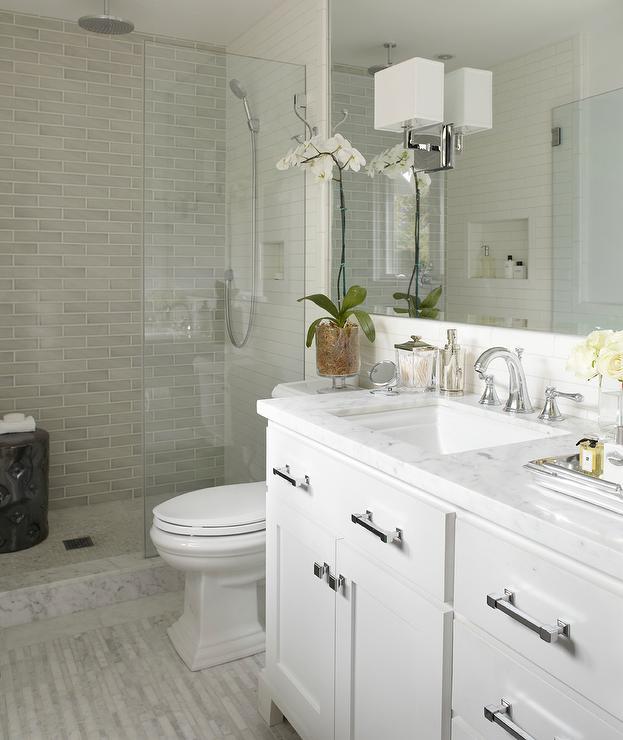 White Carrara Marble Countertops  Contemporary  bathroom  Urrutia Design
