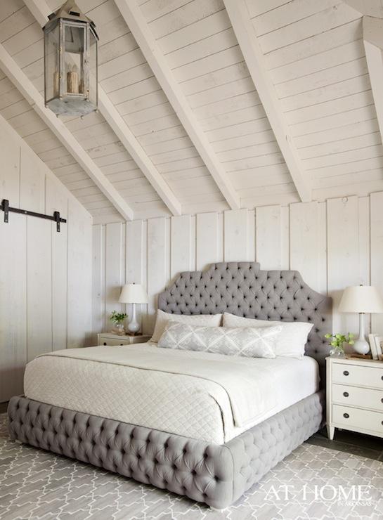 Gray Velvet Tufted Headboard  Country  bedroom  Sherwin