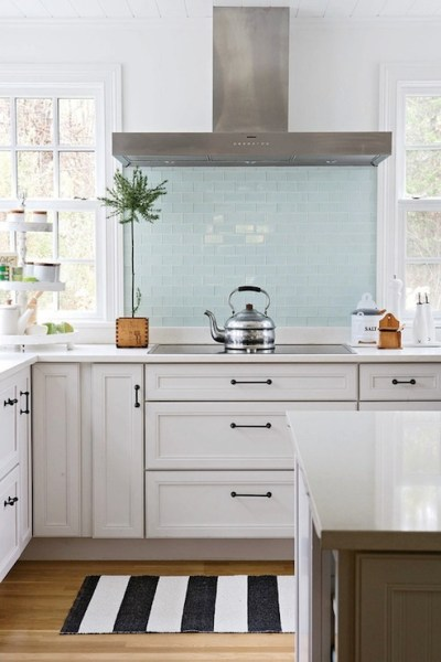 green glass tile kitchen backsplash Blue Glass Tile Backsplash - Cottage - kitchen - BHG
