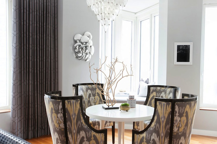 Yellow and Gray Dining Room Design  Contemporary  Dining