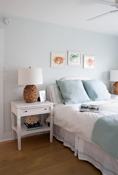 Blue Walls Bedroom  Cottage  bedroom  Benjamin Moore Fanfare  Erica Burns Interiors