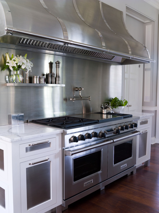 Floating Stainless Steel Shelf  Transitional  kitchen