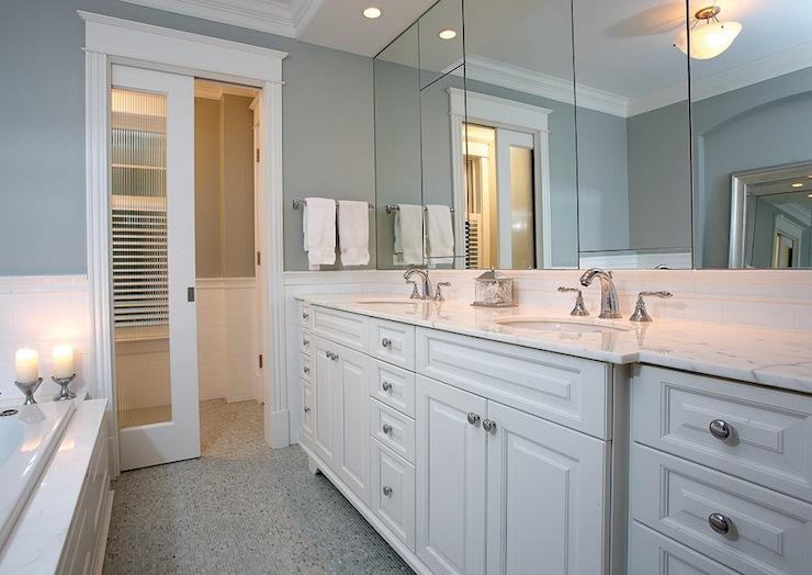 Frosted Glass Pocket Door  Contemporary  bathroom