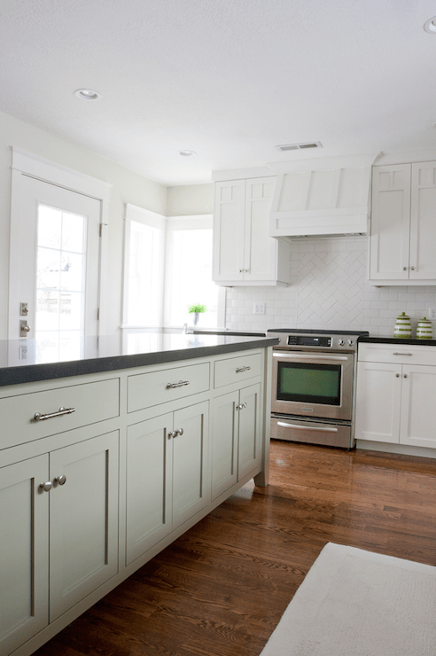 beveled subway tile kitchen large sink dimensions off white cabinets with light gray wash ...