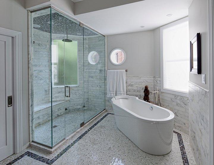 Enclosed Glass Shower  Modern  bathroom  Space