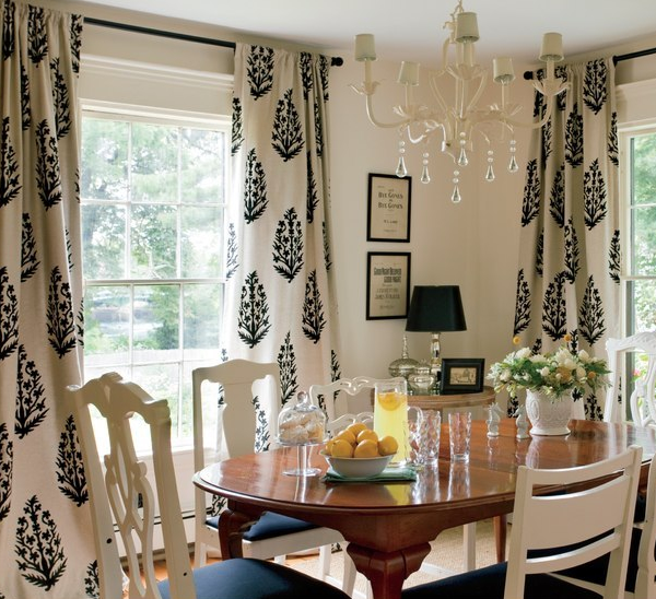 ballard designs upholstered dining chairs folding chair organizer medallion drapes - cottage room nicole yee