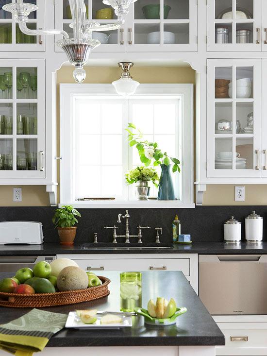 Cabinets over Kitchen Sink  Cottage  kitchen  BHG