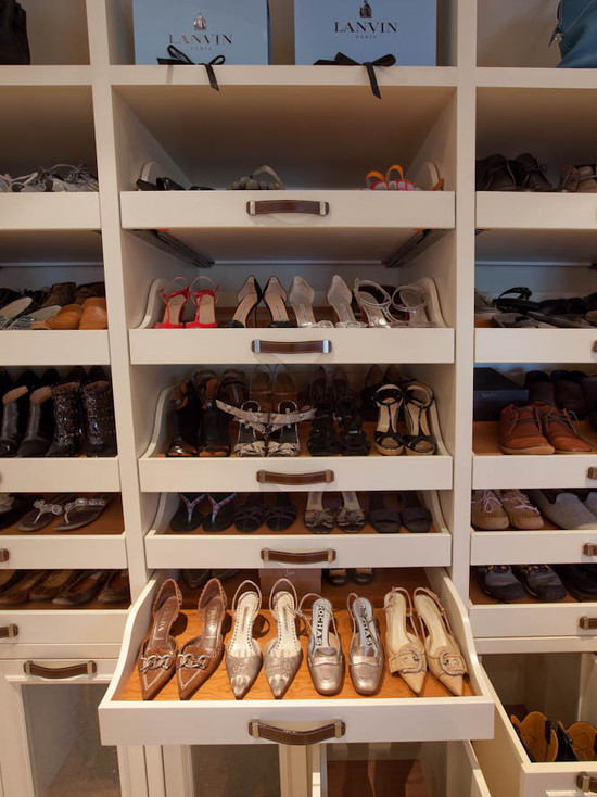 Shelves for Shoes  Transitional  closet  Woodmeister Master Builders