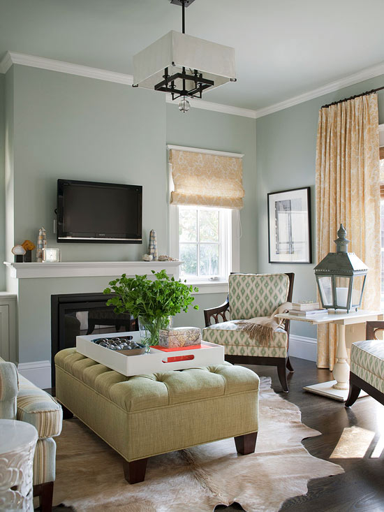light green living room walls simple design pics tufted ottoman cottage bhg