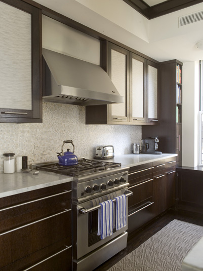 Girl And Marble Wallpaper Espresso Kitchen Cabinets Contemporary Kitchen