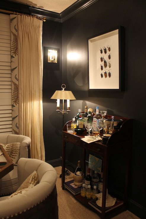 Black Crown Molding  Eclectic  media room  Benjamin