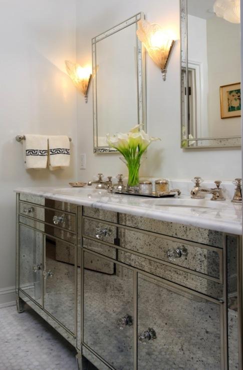 Antique Mirrored bathroom Vanity  Hollywood Regency