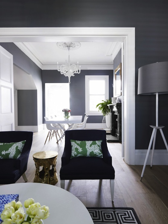 Gray And Blue Living Room Contemporary Living Room Greg Natale