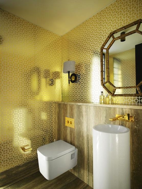 Metallic Wallpaper  Modern  bathroom  Greg Natale