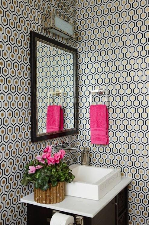 David Hicks Hexagon Wallpaper  Contemporary  bathroom