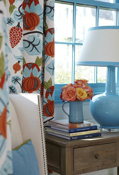 Blue and Orange Curtains  Cottage  bedroom  Tracery