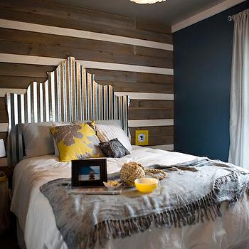 Salvaged Wood Accent Wall Mirrored Headboard Design Ideas