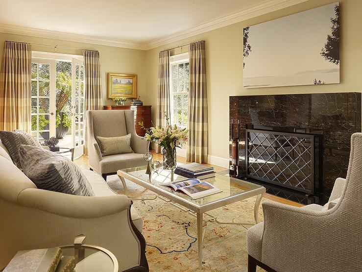 Contemporary  Living Room  Benjamin Moore Monroe Bisque