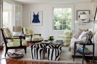 Zebra Ottomans - Transitional - living room - Kate Jackson ...