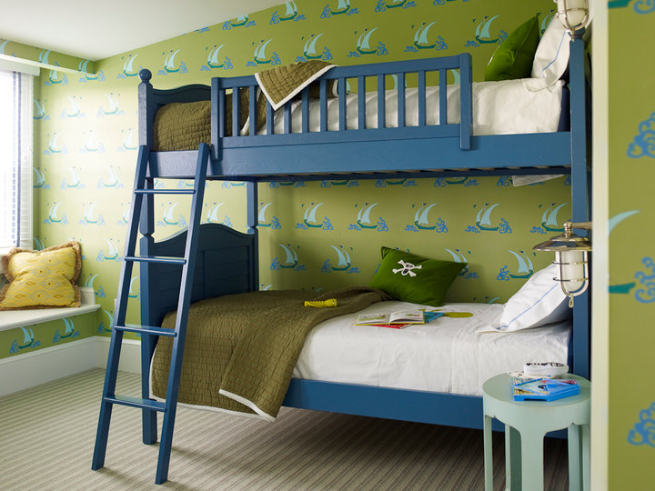 blue and green boy s room traditional