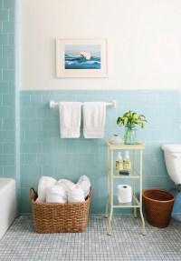 Blue Subway Tile - Vintage - bathroom - Rue Magazine