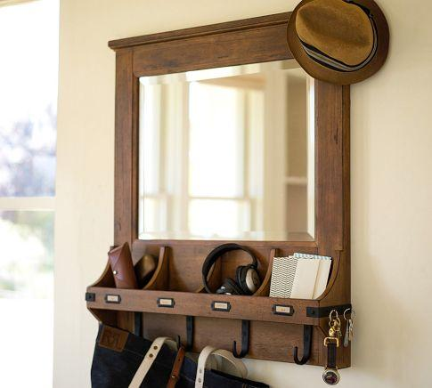 WallMount Entryway Organizer Mirror  White  Pottery Barn
