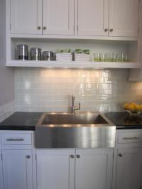 Gray Glass Subway Tile Backsplash Design Ideas