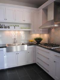 Charcoal Slate Tile - Transitional - kitchen