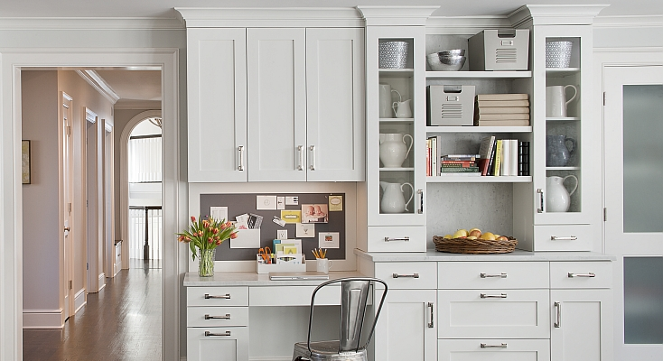 Stunning kitchen office with offwhite cabinets with