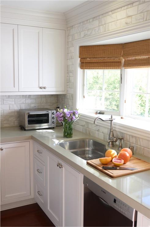 Beveled Marble Subway Tile  Cottage  kitchen  Brittany