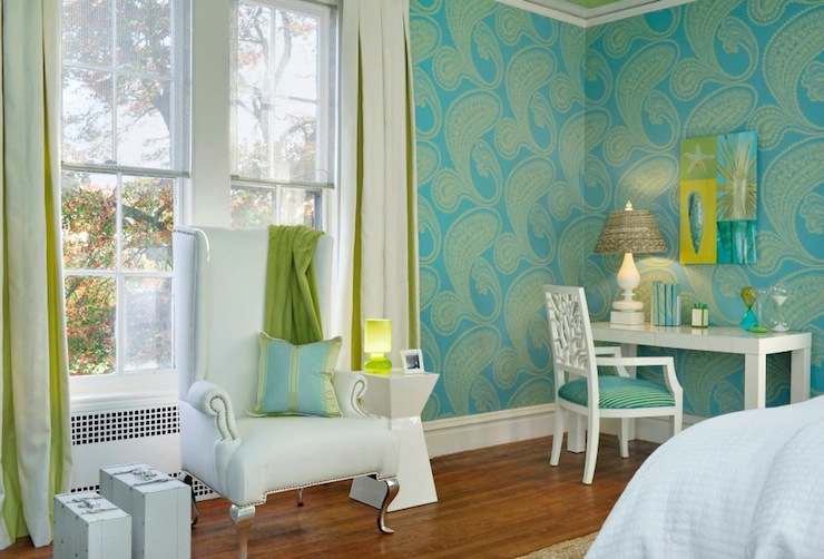 Turquoise and Green Girls Room  Contemporary  bedroom
