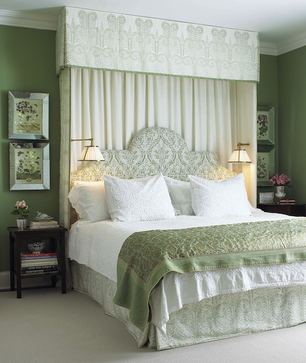 White And Green Bedroom Traditional Bedroom Farrow
