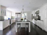 White Kitchen Cabinets Dark Wood Floors - Transitional ...