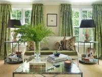 Green Curtains - Cottage - living room - Hudson Interior ...