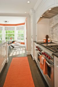 White and Orange Kitchen - Contemporary - kitchen ...