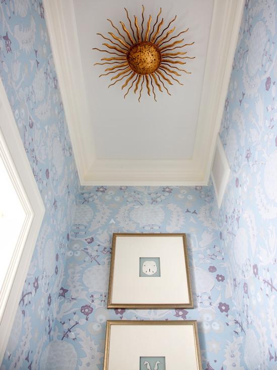 wallpaper ideas for living rooms chair room sunburst light fixture - transitional bathroom sara ...