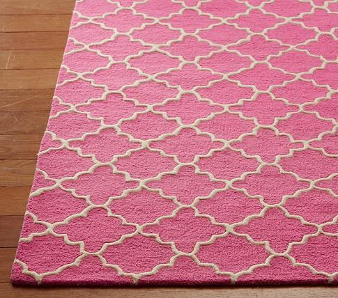 Pink Trellis Area Rug