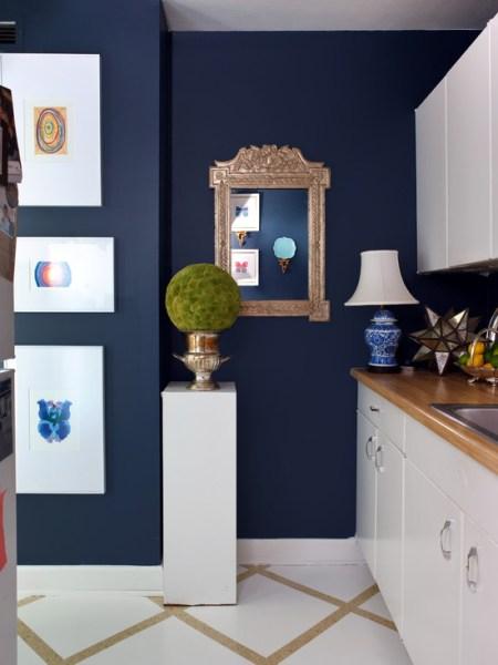 dark navy blue kitchen walls White and Navy Blue kItchen - Eclectic - kitchen - Sara