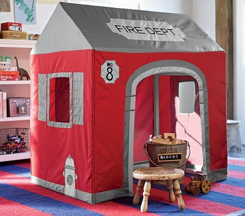 play kitchens for kids pot hangers kitchen firehouse playhouse - pottery barn