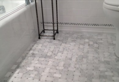 Carrara Marble Shower Tile Traditional Bathroom