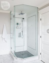 Corner Shower - Transitional - bathroom - Style at Home