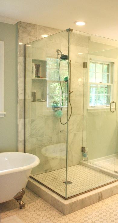 Grecian Marble Tile  Traditional  bathroom  Sherwin Williams Sea Salt  Benign Objects