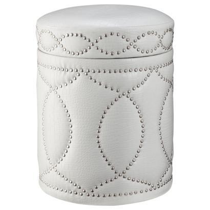 Three Hands White Storage Ottoman with Nailhead Trim I Target