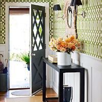 Mint Green Door  Transitional  entrancefoyer  Hudson