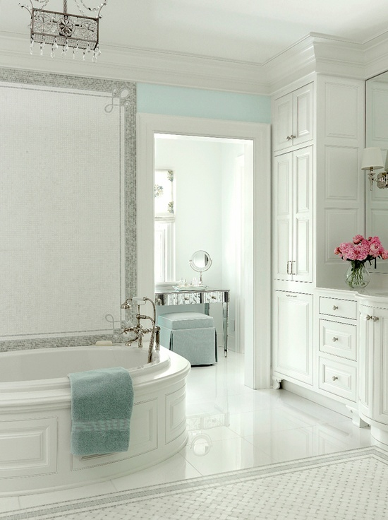 White and Turquoise Bathroom